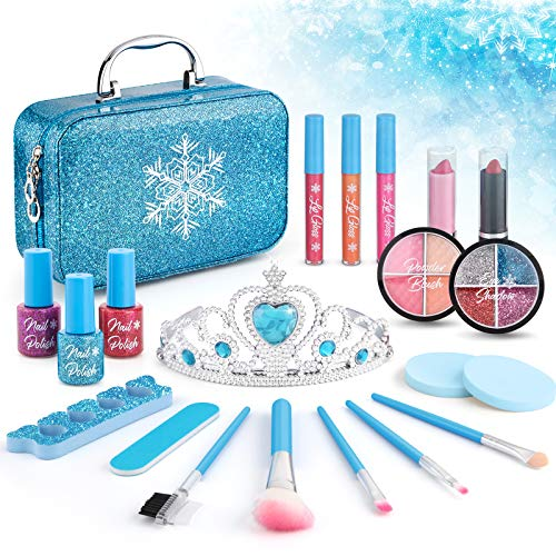 21pcs Kids Makeup Kit for Girls, Kids Play Washable Makeup Set Frozen Toys for Girls, First Princess Little Girls Starter Kit Real Makeup Cosmetic Beauty Set Toys for 3 4 5 6 7 8 Year Old Girls