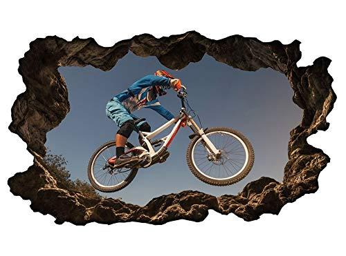 3D Wandtattoo Sport Radfahren Fahrrad BMX Downhill Mountain bike Wand Aufkleber sticker 11P576_P, Wandbild Größe E:97cmx58cm