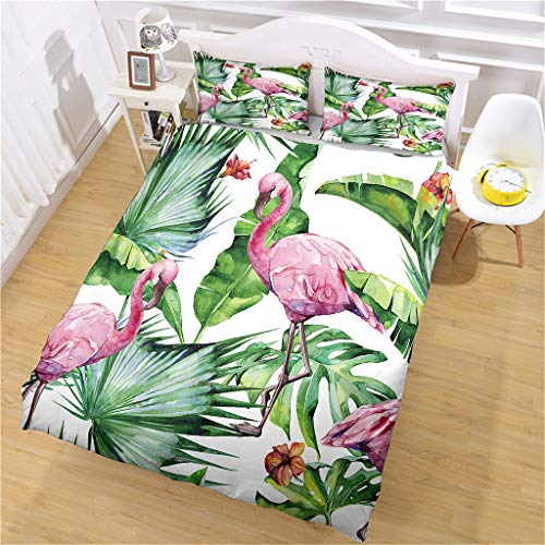 HHANN Duvet Cover Set Single Bed 135X200cm 3 Pieces Bedding Set Red Flamingo Green Leaves Microfiber Duvet Cover With 2 Pillowcases, Ultra Soft Hypoallergenic Quilt Cover Set, For Kids Baby
