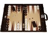 Wycliffe Brothers 21' Professional Tournament Backgammon Set, Brown Croco Board, Beige Field - Gen III