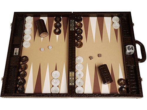 Wycliffe Brothers Tablero de Backgammon para torneos Diseño de cocodrilo en marrón con...