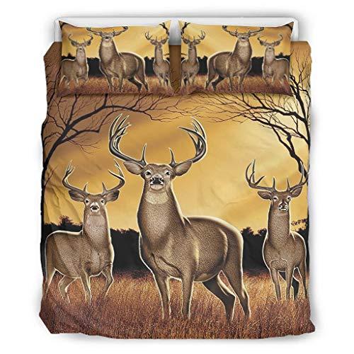 LL·Shawn Bettwäsche-Set mit wilden Tieren, Western-Stil, 3-teilig, Kissen/Bettbezüge, weich, bequem, Tagesdecke, weiß, 264,2 x 228,6 cm