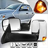 Compatible with Dodge Ram 1500-3500 02-09 Power+Heated Chrome Towing Mirror+LED Signal Lamp