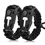Zhao.Fu Paracord Survival Bracelet (2 Pcs)-Adjustable Outdoor Emergency Gear,Whistle,Compass,Emergency Knife,Fire Starter,Multifunctional Tactical Equipment,for Hunting and Fishing,Camping,Hiking