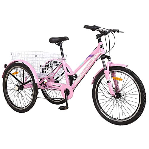 Adult Mountain Tricycle, 7 Speed Three Wheel Bikes, 24/26 Inch Adults Trikes Men's Women's Cruiser Trike Bike with Large Basket (Pink, 24' Tire/7 Speed)