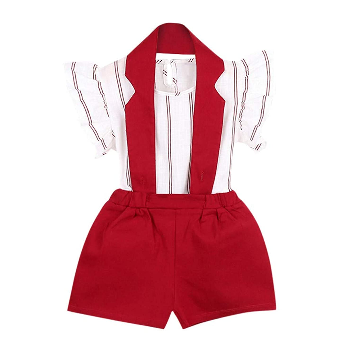 MOGOV Summer 2PCS Toddler Kids Baby Girls Outfit Clothes Stripe Fly Sleeves T-Shirt Tops+Shorts Pants Set