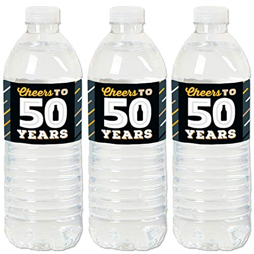Big Dot of Happiness Cheers and Beers to 50 Years - 50th Birthday Party Water Bottle Sticker Labels - Set of 20