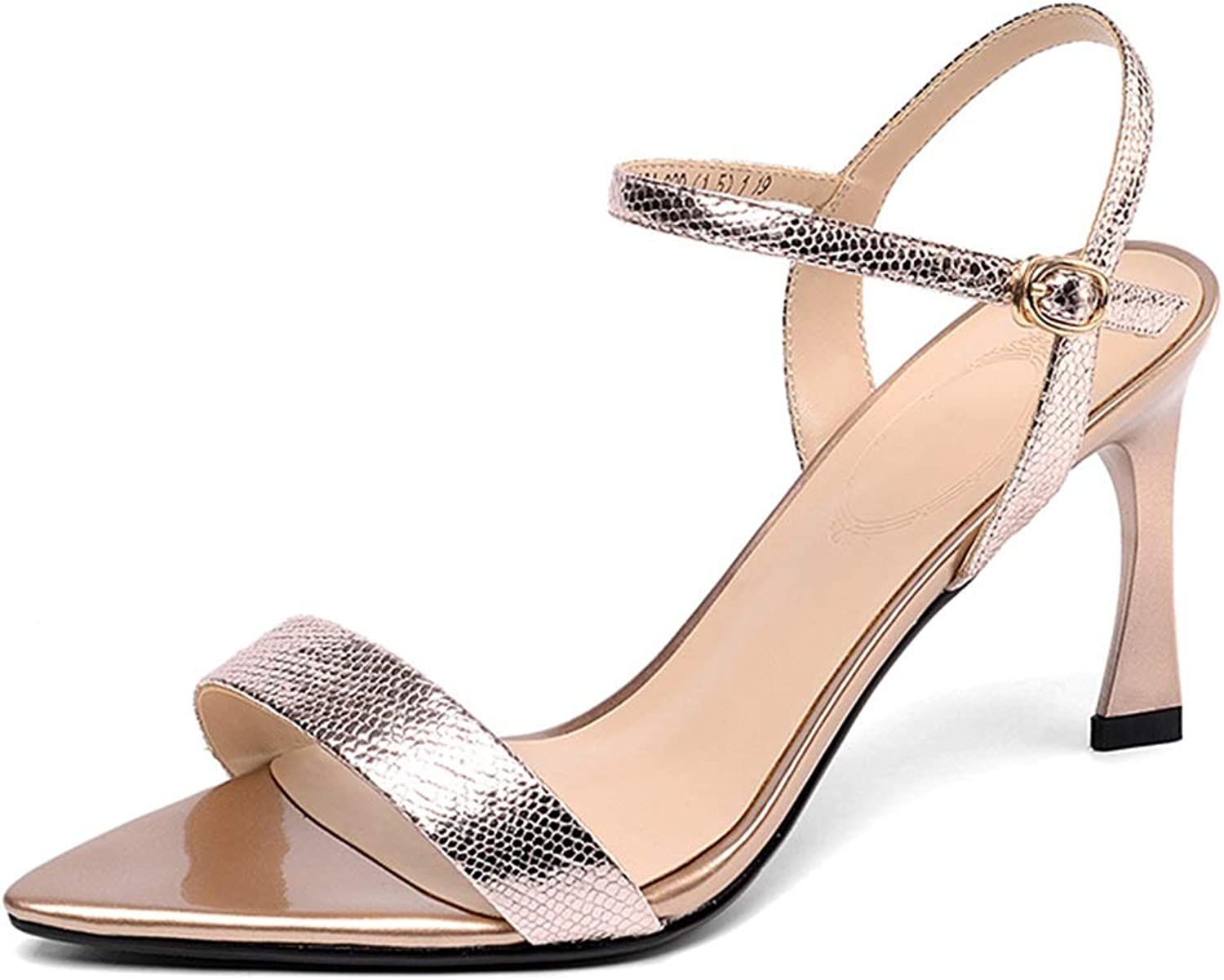 Sandals Heeled Women's Stiletto Sandals Summer Word with High Heel Toe Women's shoes anquet Ladies Stiletto shoes, with A Height of 7.5cm (color   Pink, Size   39 US8)