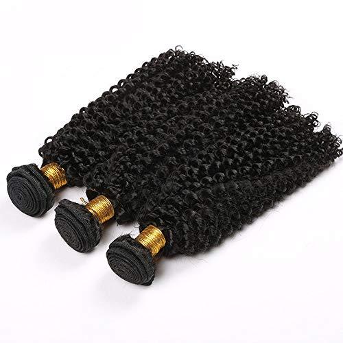 Souple Fashian Hair Extension Bundles Kinky Curly 100% vrais cheveux humains cheveux naturels de couleur fashion (Color : Black, Size : 14 inch)