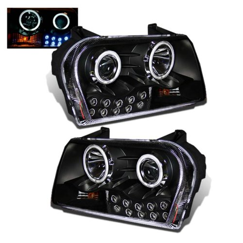 SPPC Projector Headlights L.E.D Black Assembly (CCFL Halo) For Chrysler 300 - (Pair) Includes Driver Left and Passenger Right Replacement Headlamp
