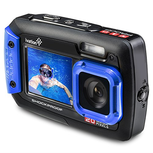 Ivation 20MP Underwater Waterproof Shockproof Digital Camera & Video Camera w/Dual Full-Color LCD Displays – Fully Submersible Up to 10 Feet (Blue)