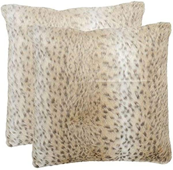 Safavieh Pillows Collection Snow Leopard Decorative Pillow 18 Inch Off White Set Of 2