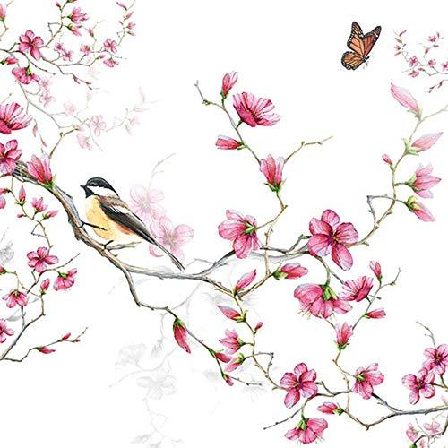 Servilletas con diseño de pájaro en rama de flores (20 unidades)