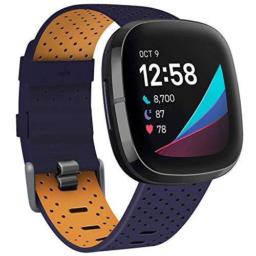 TopPerfekt Correa compatible con Fitbit Versa 3 / Sense Correa, cuero Correa de cuero genuino transpirable Bandas de repuesto compatibles con Fitbit Versa 3 / Sense, para mujeres hombres