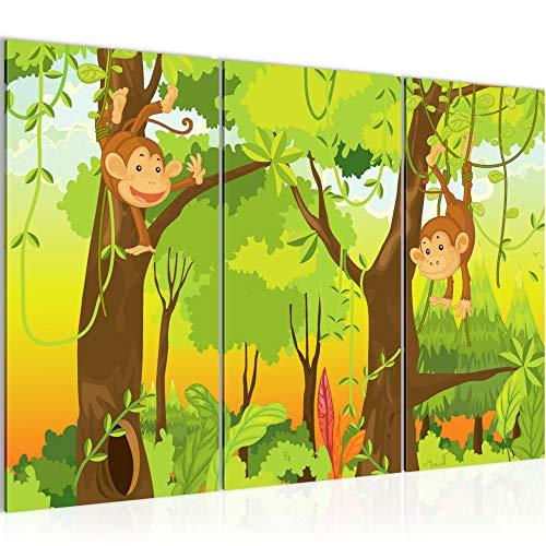 Bilder Kinder Afrika Tiere Wandbild 120 x 80 cm - 3 Teilig Vlies - Leinwand Bild XXL Format Wandbilder Wohnzimmer Wohnung Deko Kunstdrucke Grün - MADE IN GERMANY - Fertig zum Aufhängen 001831b