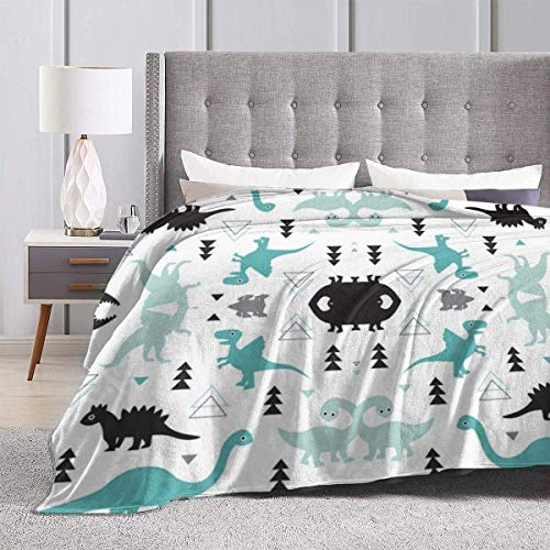 Funny Dinosaur Set White Super Soft Shaggy Throw Blankets, Cozy Plush Couch Sofa Throw, Fluffy Luxury Fleece Flannel Blanket for Bedroom Living Room, 50 x 40 inch