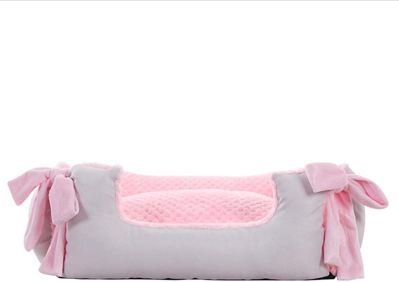 Pet Sofa Pet Bed Cat Kennel Kennel Cat Nest Pet Nest Dog Nest Pink Flannel Keep Warm Haiming (color   Pink, Size   L)