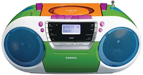 Lenco Digitalradio SCD-681 DAB mit CD-Player, Kassette und USB, Batteriebetrieb Möglich (DAB, DAB+, UKW-Tuner, RDS, MP3-Wiedergabe, Kopfhöreranschluss, Aux, 4 Lautsprecher), Bunt