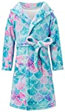 Mermaid Bathrobes for Girls Flannel Hooded Sleepwear Long Sleeve Durable Robe Waist Tie Swim Plush Cover up Big Pocket in Sleepover Autumn Winter Lounge Wear Size 4-6Y