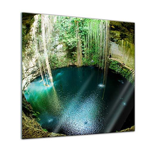 Glasbild - Ik-Kil Cenote Mexiko - 30x30 - Deko Glas - Wandbild aus Glas - Bild auf Glas - Moderne Glasbilder - Glasfoto - Echtglas - kein Acryl - Handmade