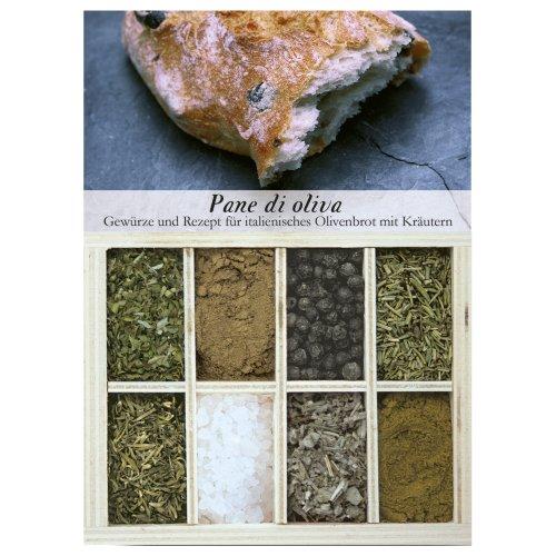 Pane di oliva – 8 Gewürze für italienisches Olivenbrot mit Kräutern (53g) – in einem schönen Holzkästchen – mit Rezept und Einkaufsliste – Geschenkidee für Feinschmecker – von Feuer & Glas