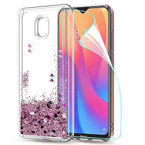 LeYi Funda Xiaomi Redmi 8A Silicona Purpurina Carcasa con HD Protectores de Pantalla, Transparente Cristal Bumper Telefono...
