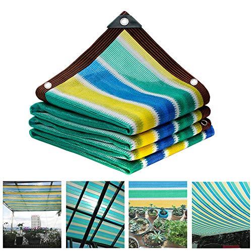 HIANG256 Sonnensegel, bunt, rechteckig, HDPE, Balkon-Sichtschutz, Windschutz mit seitlichen Ösen für Garten, Terrasse, Veranda, Deck, Pool, Spielplatz