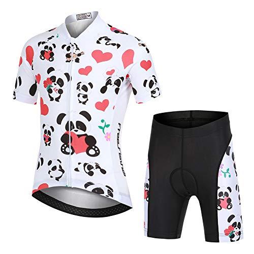 YFPICO - Radsport-Anzüge für Mädchen in Panda-weiß(set), Größe 122/128