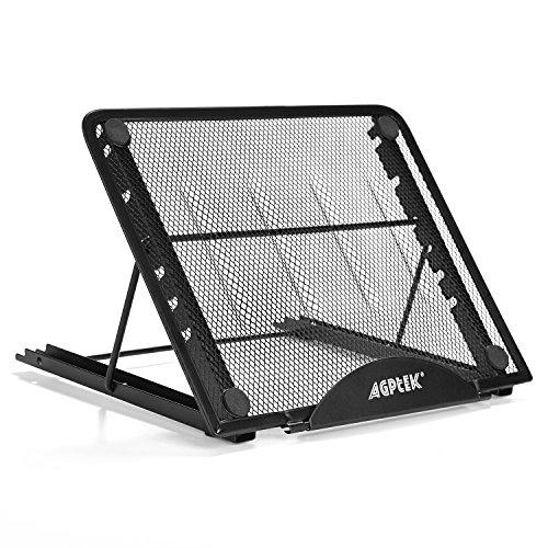 AGPTEK Laptop Ständer Höhenverstellbar Laptopständer Verstellbar Tragbarer Belüfteter Notebook Ständer mit Faltbarem und Langlebigem Design für 10-15 Zoll Notebooks Tablets A4/A5 LED Leuchttisch