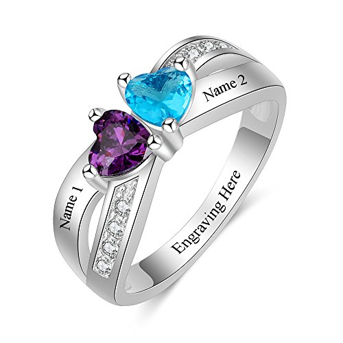 Love Jewelry Personalized 2 Simulated Birthstone Rings for Women Mothers Ring with Names Custom Promise Rings for Women (7)