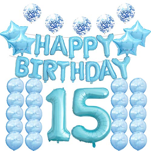 15th Birthday Decorations Party Supplies,15th Birthday Balloons Blue,Number 15 Mylar Balloon,Latex Balloons Decoration,Great Sweet 15th Birthday Gifts for Girls,Photo Props