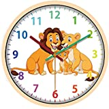IPOUF 12 Inch Kid Wall Clock Silent Non Ticking Battery Operated Easy to Read Clock for Children Bedroom, Nursery Room, School,Home