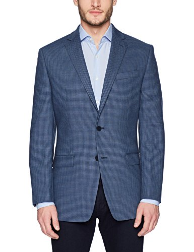 Calvin Klein Herren Blazer Malik Slim Fit Single Breast 2 Knöpfe Navy Mini Grid Pattern 40 Short