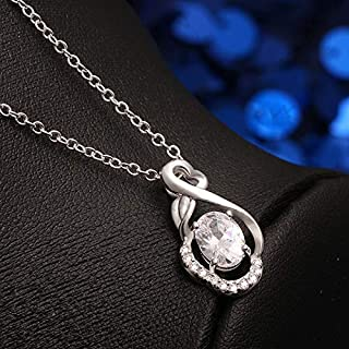 Celebrity Zircon Item Fashion Tide Silver Plated Trinket European and American Fashion Necklace (Color : Orange) Girls Necklace (Color : White)