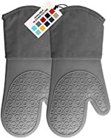 HOMWE Extra Long Professional Silicone Oven Mitt, Oven Mitts with Quilted Liner, Heat Resistant Pot Holders, Flexible...