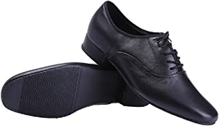 Black Modern Outdoor Dancing Shoes Lace-up Leather Soft Sole Dancing Shoes for Men