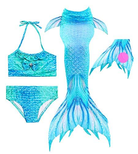 HiFunBay Colas de Sirena para Nadar con Aleta para Niñas 4/5 PCs con Monoaleta y Flor Garland Diadema