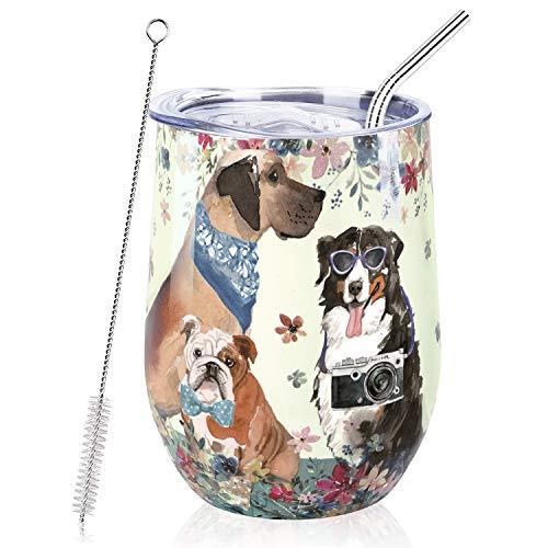 NymphFable 12oz Thermobecher Kaffeebecher To Go Personalisierte Hunde Edelstahl Weinglas Mit Deckel Beste Freundin