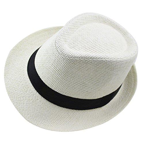 AIEOE Kinder Panamahut mit Stoffband Mädchen Jungen Strohhut Sonnenschutzhut Street Style - Creamweiß für Kopfumfang 53-54cm