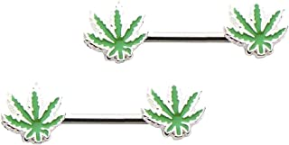 Lovoski 2pcs Charming Flower Leaf Nipple Shield Bar Ring 14 Gauge