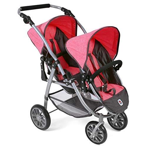 Bayer Chic 2000 689 41 Tandem-Buggy Vario, Zwillings-Puppenwagen, Melange anthrazit-pink