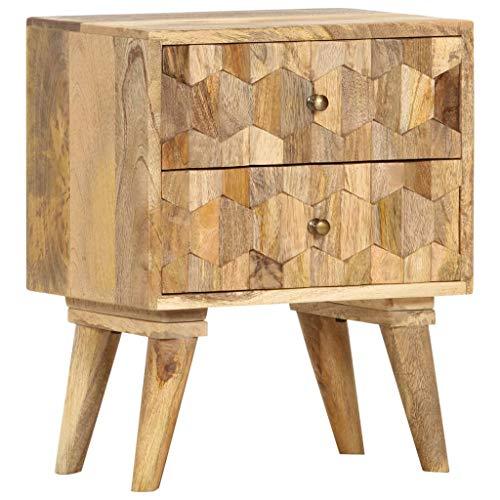 vidaXL Mangoholz Massiv Nachttisch mit 2 Schubladen Nachtschrank Nachtkommode Nachtkonsole Schlafzimmer Kommode Nachtschränkchen 40x30x50cm