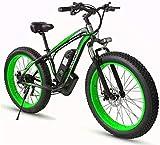 RDJM Bici electrica 26inch Fat Tire E-Bici eléctrica Bicicletas for adultos, aleación de aluminio de 500W Todo Terreno E-Bici extraíble 48V / 15Ah de iones de litio de la batería de la bici de montaña