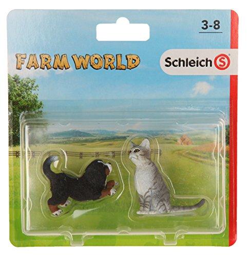 Schleich - Set 2 figuras de Farm Life. Cachorro Perro Bernés y Gato