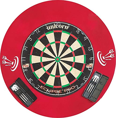 roleo Steeldart Dart Set - Unicorn Eclipse Pro + Surround + 2 Set Pfeile in Box (Dartboard + Catchring Rot + 2 Satz Pfeile)