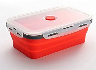 Silicone Collapsible Lunch Box Food Storage Container Bento BPA Free Microwavable Portable Picnic Camping Rectangle Outdoor Box (Color : Red lunch box, Lunch Box Capacity : A set(4pcs))