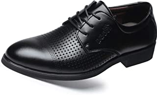 Xiang Ye Oxford Shoes for Men Formal Shoes Lace Up Style Microfiber Leather Round Toe Hollow Casual Business (Color : Black, Size : 7 UK)