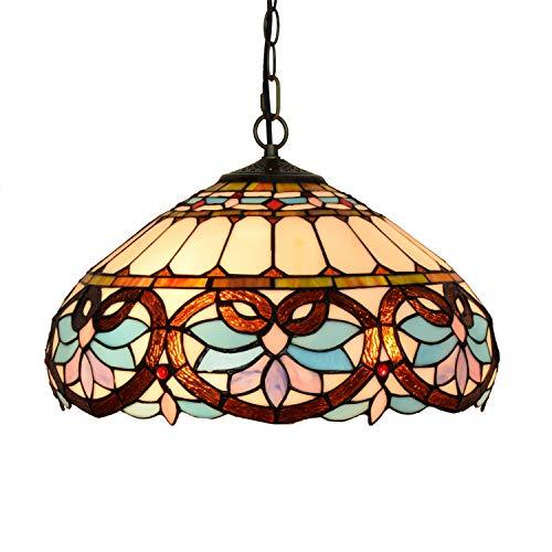 YALIXING Candelabros de Color - 16 Pulgadas de Estilo Tiffany Azul Estilo Europeo Retro corazón Barroco Colgante lámpara Sala de Comedor Barra luz Luces Creativas de decoración del hogar