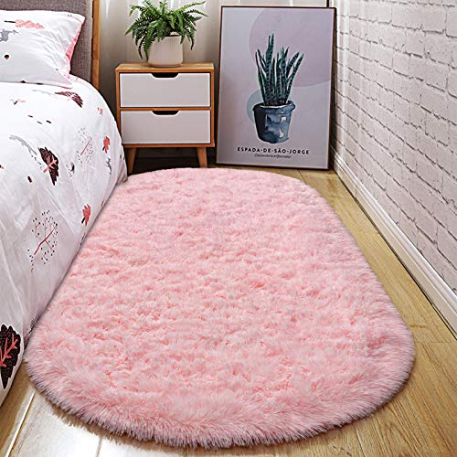 junovo Oval Fluffy Ultra Soft Area Rugs for Bedroom Plush Shaggy Carpet for Kids Room Bedside Nursery Mats, 2.6 x 5.3ft, Pink