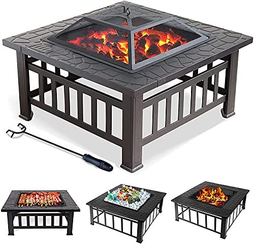Buycitky Firepit Outdoor Fire Pits for Garden Large, 3 In 1 Square Fire Pit Table BBQ Grill, Ice Pit, Outside Heater, Metal Brazier Firepit and Firebowl for Camping Barbecue (Square)
